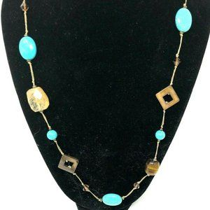 """Promenade Tiger's Eye Faux Turquoise 32"""" Necklace"""